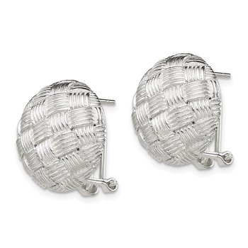 Sterling Silver Round Fancy Omega Back Earrings