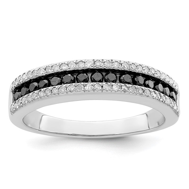 Quality Gold Sterling Silver Rhod Plated Black and White Diamond Ring