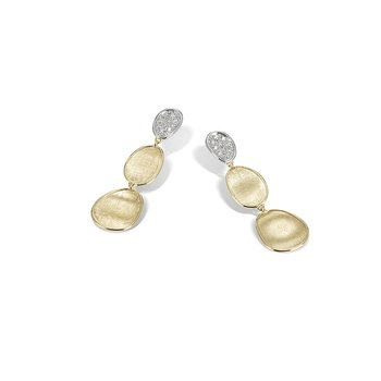 Lunaria Collection 18K Yellow Gold and Diamond Petite Triple Drop Earrings