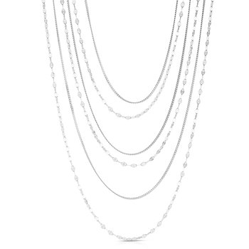 Silver Mirror Curb Chain Multistrand Necklace