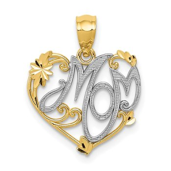 14k and Rhodium MOM Pendant