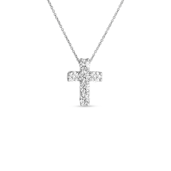 18Kt Gold Diamond Square Cross Pendant