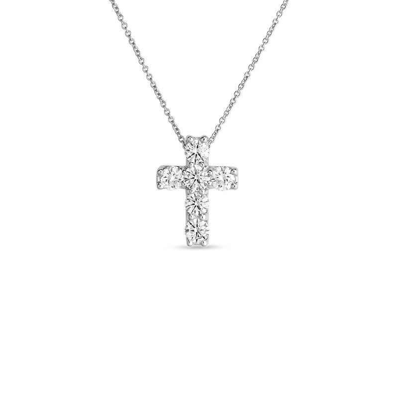 Roberto Coin 18Kt Gold Diamond Square Cross Pendant