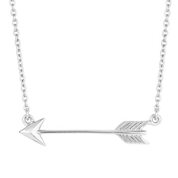 Silver Sideways Arrow Necklace