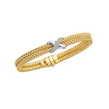 14K Gold .18ct Diamond X Woven Bangle