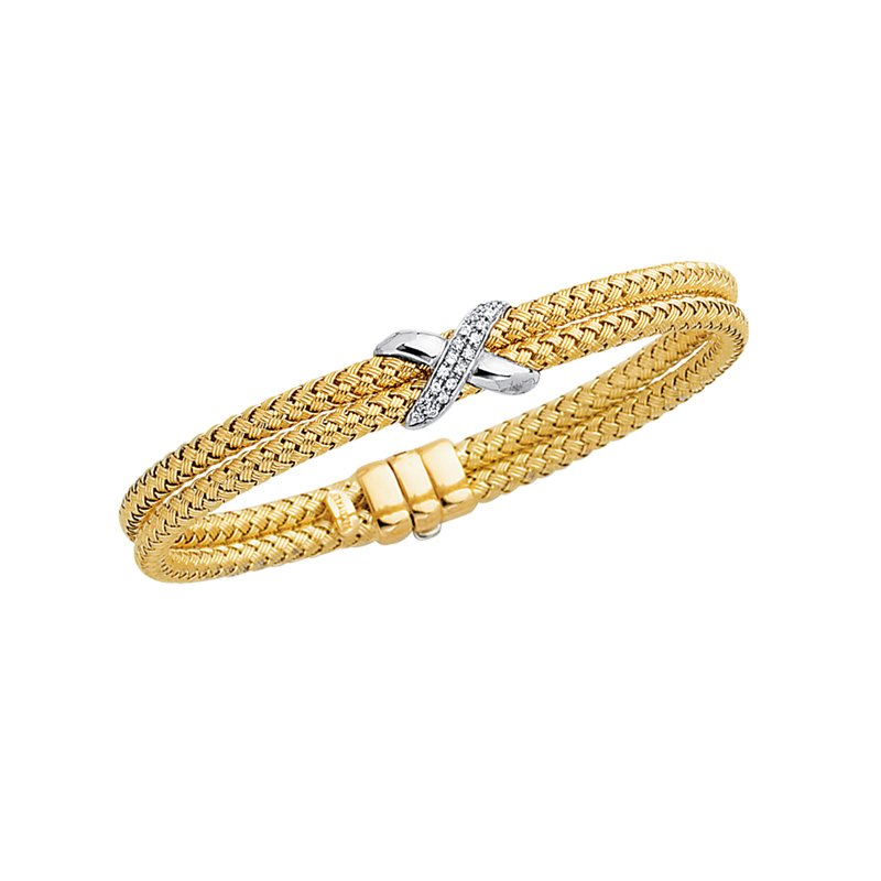 Royal Chain 14K Gold .18ct Diamond X Woven Bangle