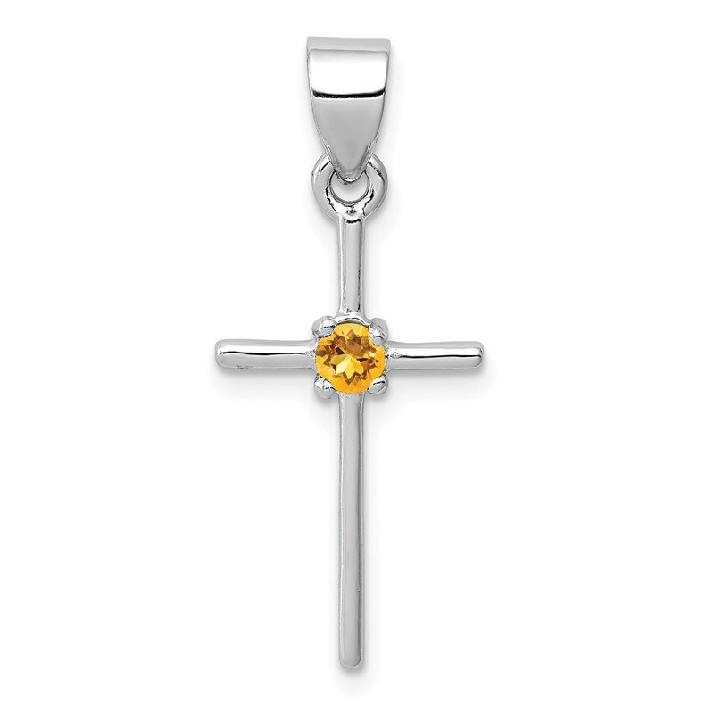 Quality Gold Sterling Silver Rhodium-platedCitrine Cross Pendant