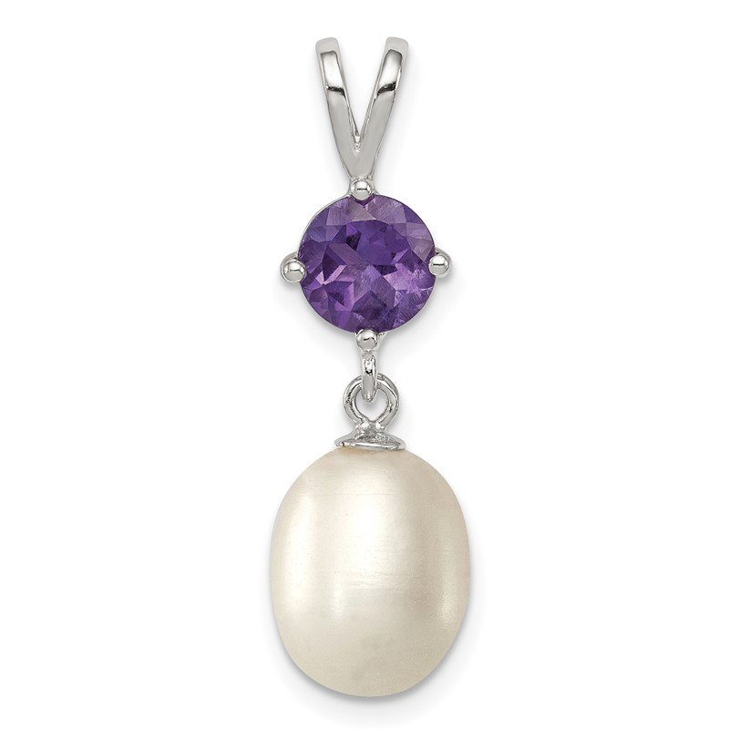 Quality Gold Sterling Silver Rhodium-plated Amethyst 8-9mm FWC Pearl Teardrop Pendant