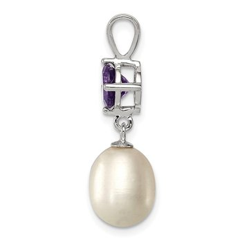 Sterling Silver Rhodium-plated Amethyst 8-9mm FWC Pearl Teardrop Pendant