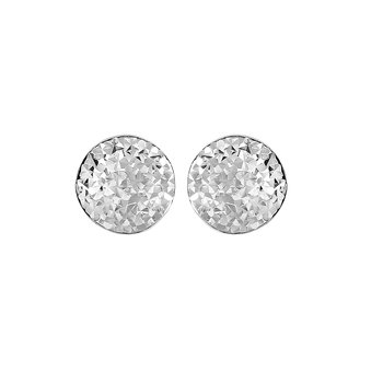 Silver Mini Domed Faceted Earring