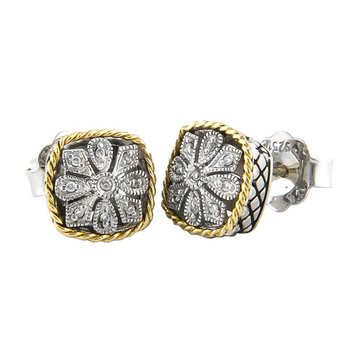 18kt and Sterling Silver Cushion Antique Flower Diamond Stud Earrings
