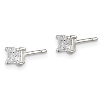 Sterling Silver 3mm Princess Basket Set CZ Stud Earrings