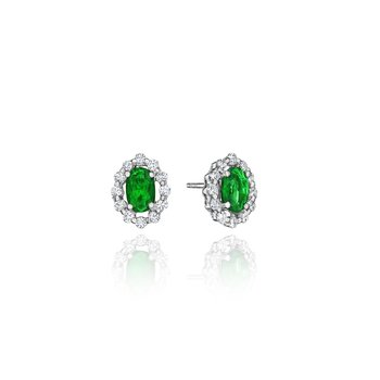 Minimalist Magic Emerald and Diamond Studs