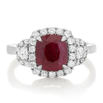 White Gold Ruby Side Stone Ring
