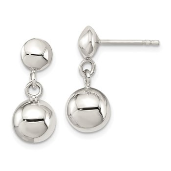 Sterling Silver 8mm Dangle Ball Post Earrings