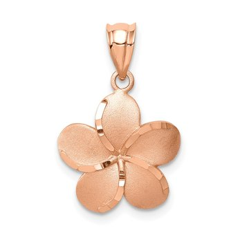 14K Rose Brushed Diamond-cut Plumeria Pendant