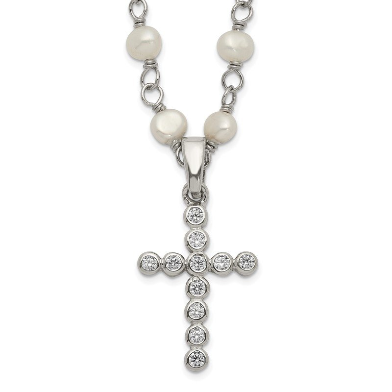 Quality Gold Sterling Silver Rhodium-plated 4-5mm White FWC Pearl CZ Cross Necklace