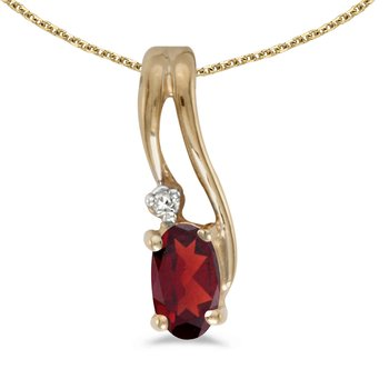 14k Yellow Gold Oval Garnet And Diamond Wave Pendant