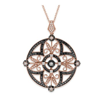 Black and White Diamond Medallion Necklace in 14K Rose Gold with 187 Diamonds Weighing 1.01 ct tw
