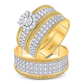 10kt Yellow Gold His & Hers Round Diamond Solitaire Wheat Matching Bridal Wedding Ring Set 7/8 Cttw