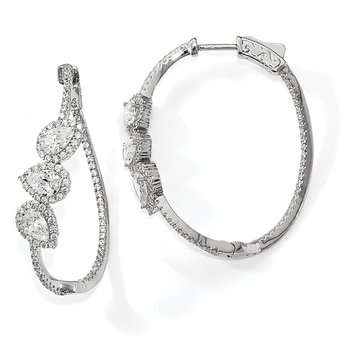 Sterling Silver Polished Curvy Pear Halo CZ In and Out Oval Hoop Earrings