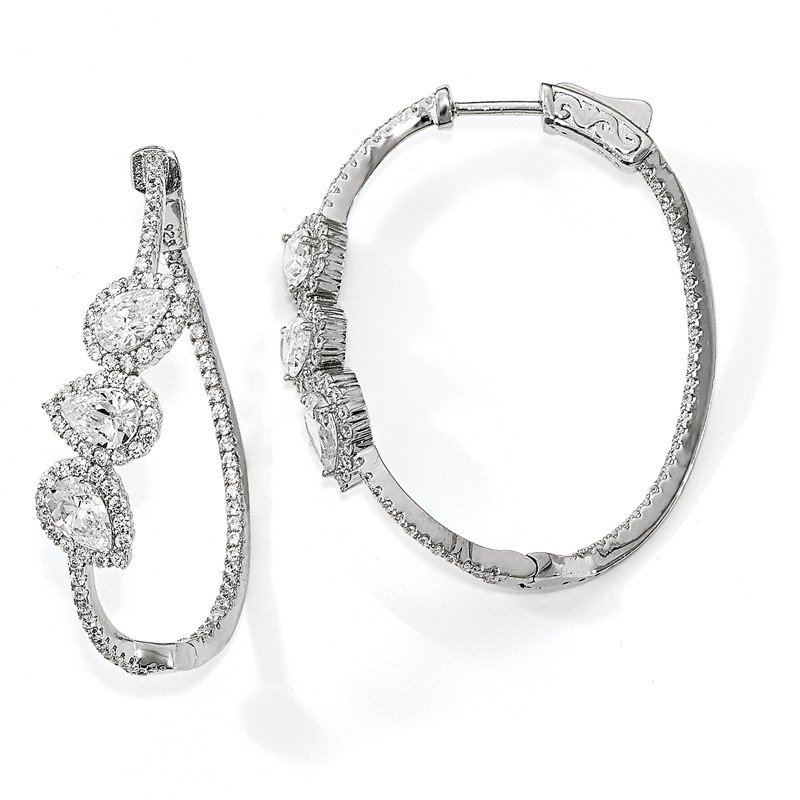 Quality Gold Sterling Silver Polished Curvy Pear Halo CZ In and Out Oval Hoop Earrings