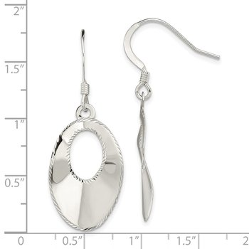 Sterling Silver Polished Laser Cut Oval Dangle Hook Earrings