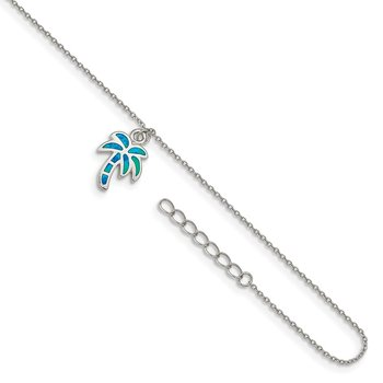 Sterling Silver RH-plated Created Opal Palm Tree 9in Plus 1in Ext. Anklet
