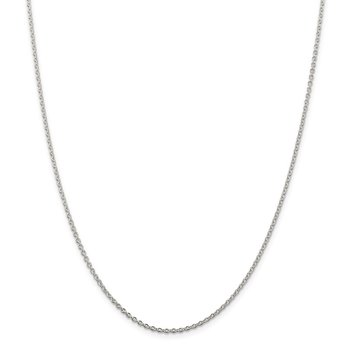 Sterling Silver Rhodium-plated 1.95mm Cable Chain