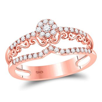 14kt Rose Gold Womens Round Diamond Flourished Cluster Band Ring 1/3 Cttw