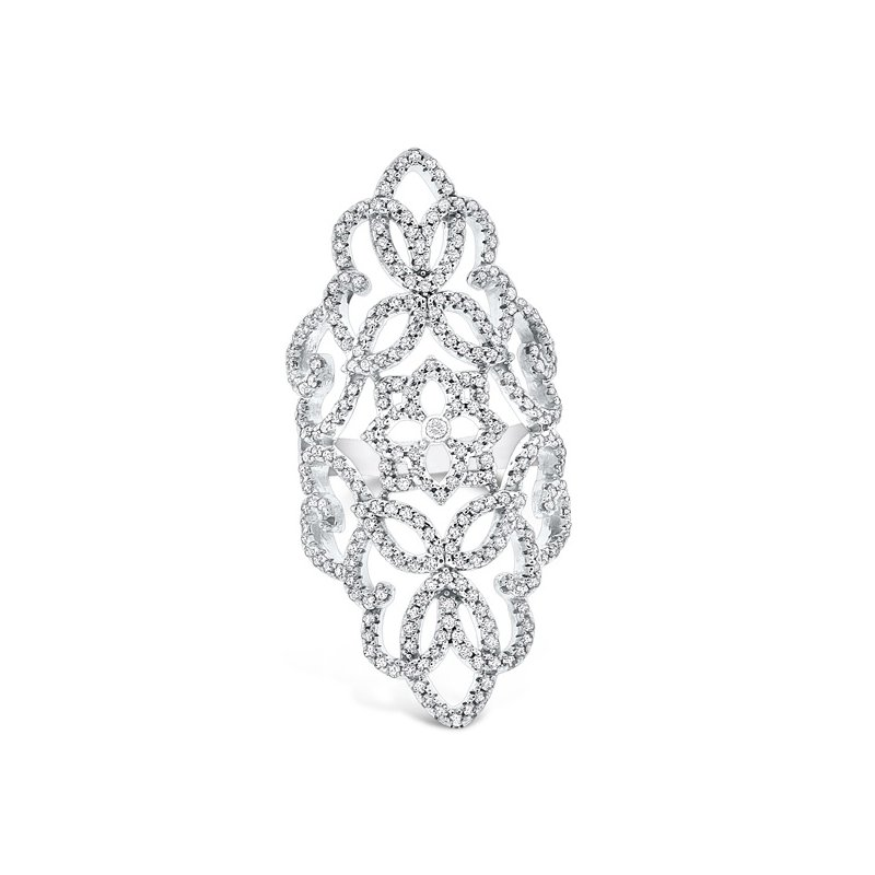 KC Designs Diamond Antique Style Ring in 14K White Gold with 265 Diamonds Weighing 1.30ct tw.