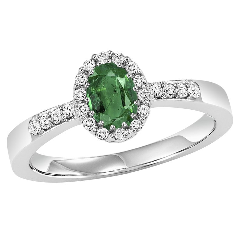 Gemsone 14K Emerald & Diamond Ring