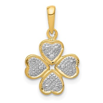 14k .02ct.Diamond Four Leaf Clover Pendant
