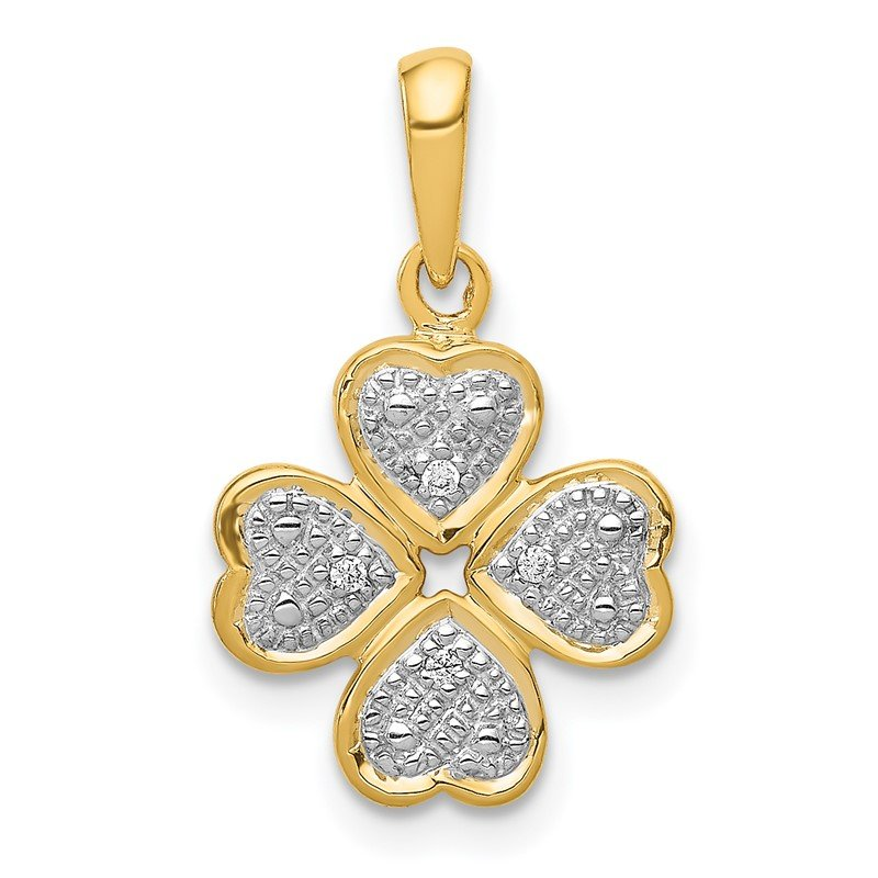 Quality Gold 14k .02ct.Diamond Four Leaf Clover Pendant