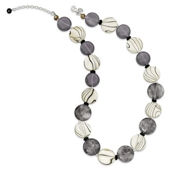 Sterling Silver Black and Grey Agate/MOP/Sardonyx Necklace