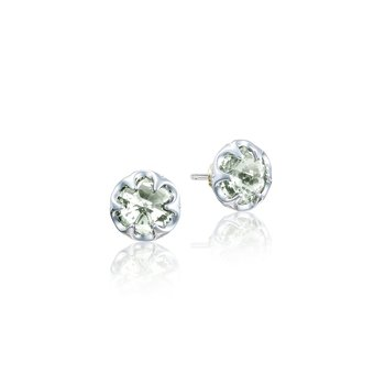 Petite Crescent Bezel Earrings featuring Prasiolite