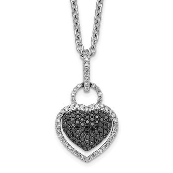 Sterling Silver Rhod Plated Black and White Diamond Heart Pendant Necklace