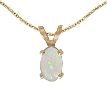 14k Yellow Gold Oval Opal Pendant
