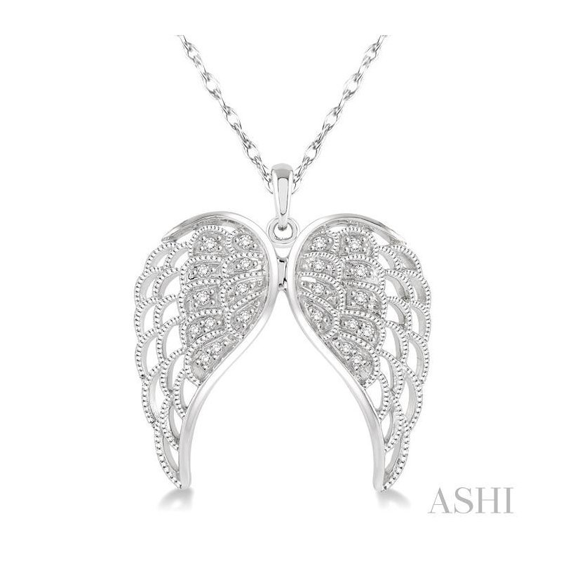 ASHI silver angel wing diamond pendant