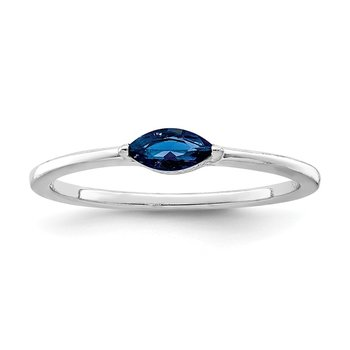 Sterling Silver Rhodium Plated Blue CZ Ring