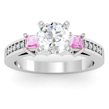 Pink Sapphire Princess Cut Pave Diamond Engagement Ring