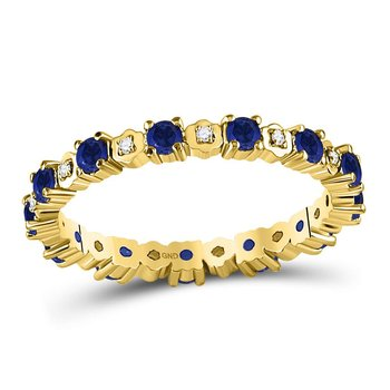 10kt Yellow Gold Womens Round Blue Sapphire Diamond Eternity Band Ring 1.00 Cttw