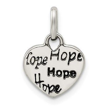 Sterling Silver Antiqued and Polished HOPE Heart Charm