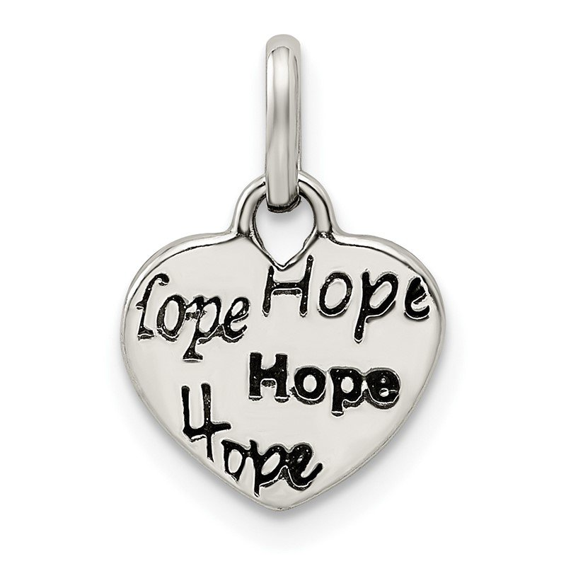 Quality Gold Sterling Silver Antiqued and Polished HOPE Heart Charm