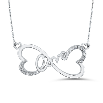 1/10 ct Round Diamond Heart Infinity LOVE Pendant with Chain