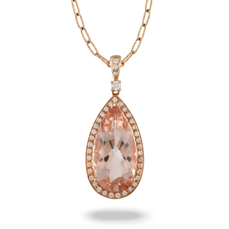 Doves Rose Pear Morganite Halo Pendant 18KR