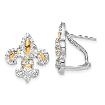 Sterling Silver Vermeil Fleur de Lis CZ Omega Back Earrings