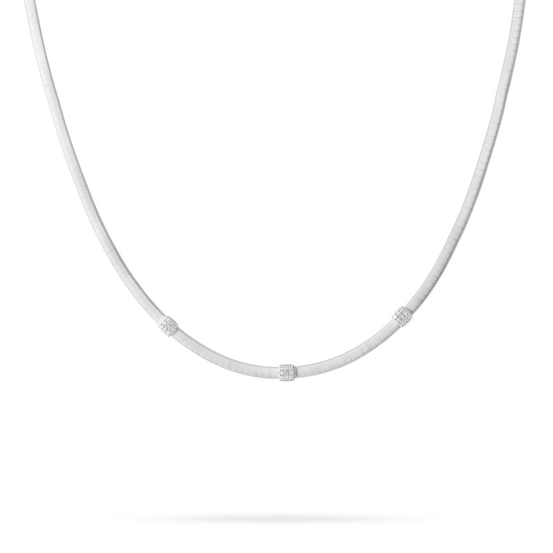 Marco Bicego Masai Three Station Diamond Necklace in White Gold