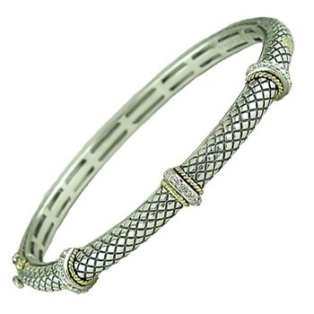 18kt and Sterling Silver Pave Diamond Rondel Stations Bangle Bracelet