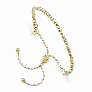 Leslie's Sterling Silver Gold-plated D/C Adjustable Bracelet